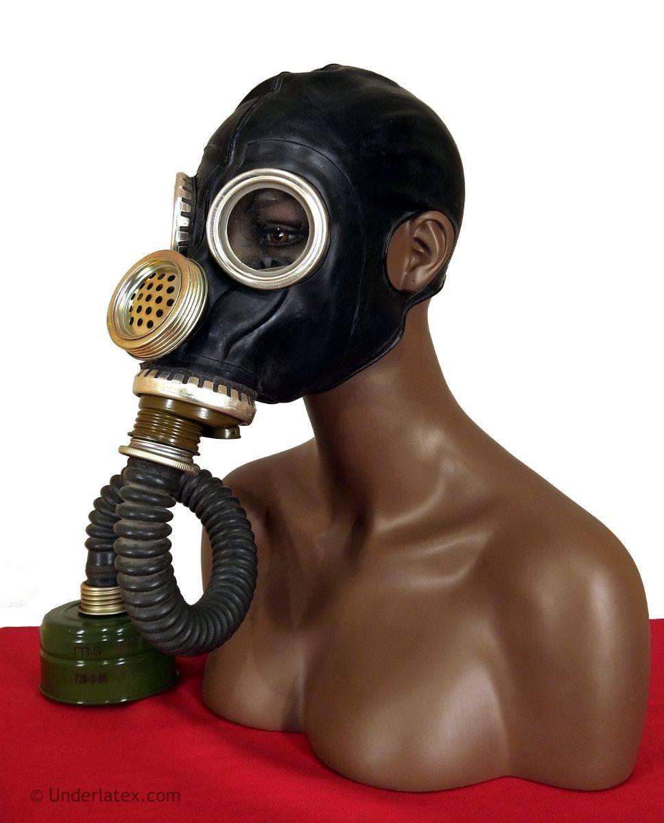 russische Gasmaske GP5-m aus schwarzem Latex