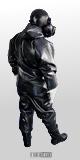 Heavy Rubber kompletter Schutzanzug aus 1,2mm Gummi mit festen Gummihandschuhen, schwarzen Gummistiefeln mit aufgesetzter Gasmaske PBF in schwarz von hinten gesehen