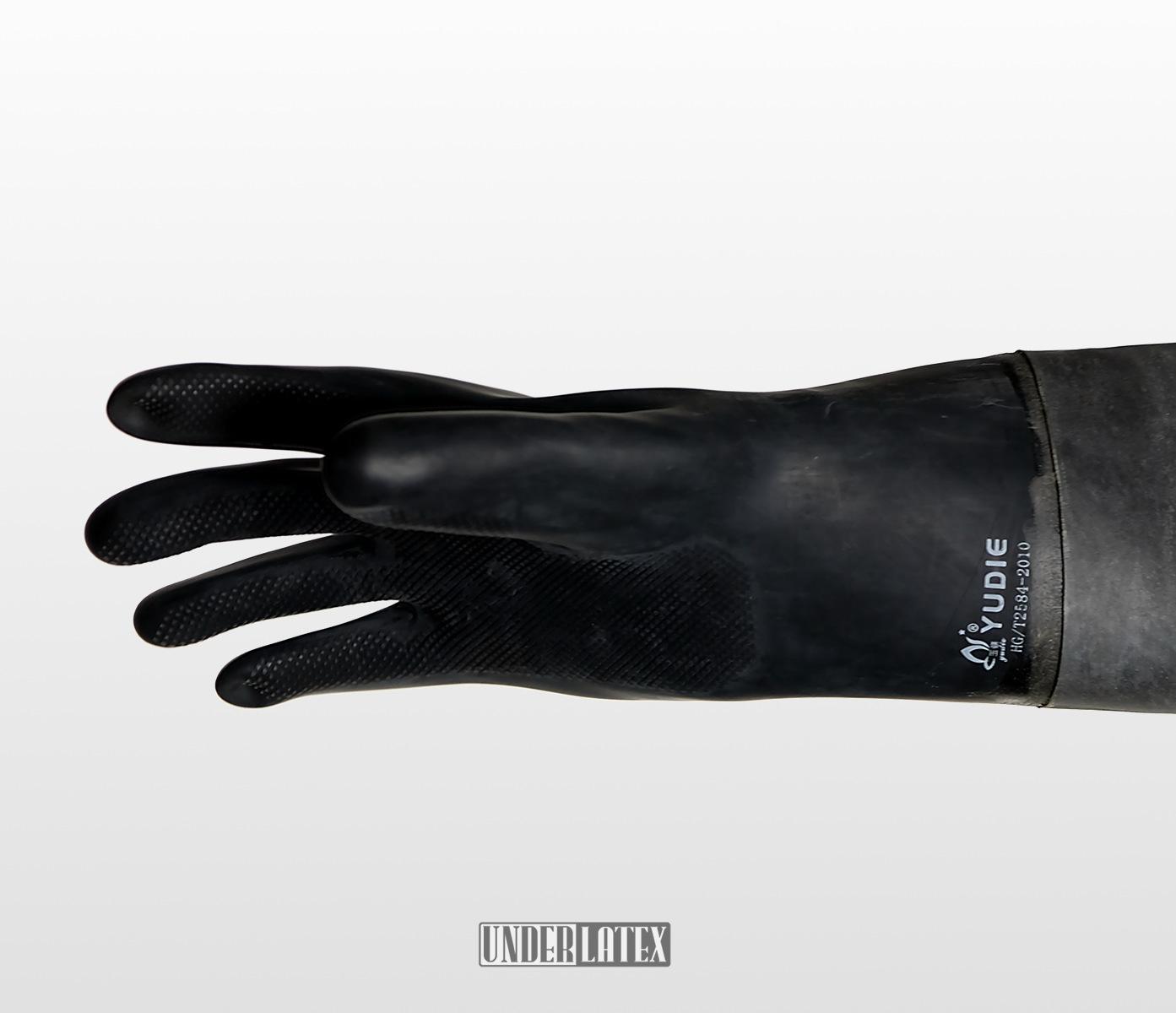 Heavy Rubber kompletter Schutzanzug aus 1,2mm Gummi Detailaufbahme Handschuh schwarz 1mm