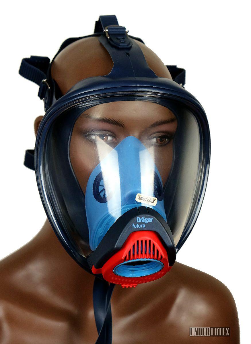 Dräger Futura Gasmaske blau mit Ueberdruckanschluss M45