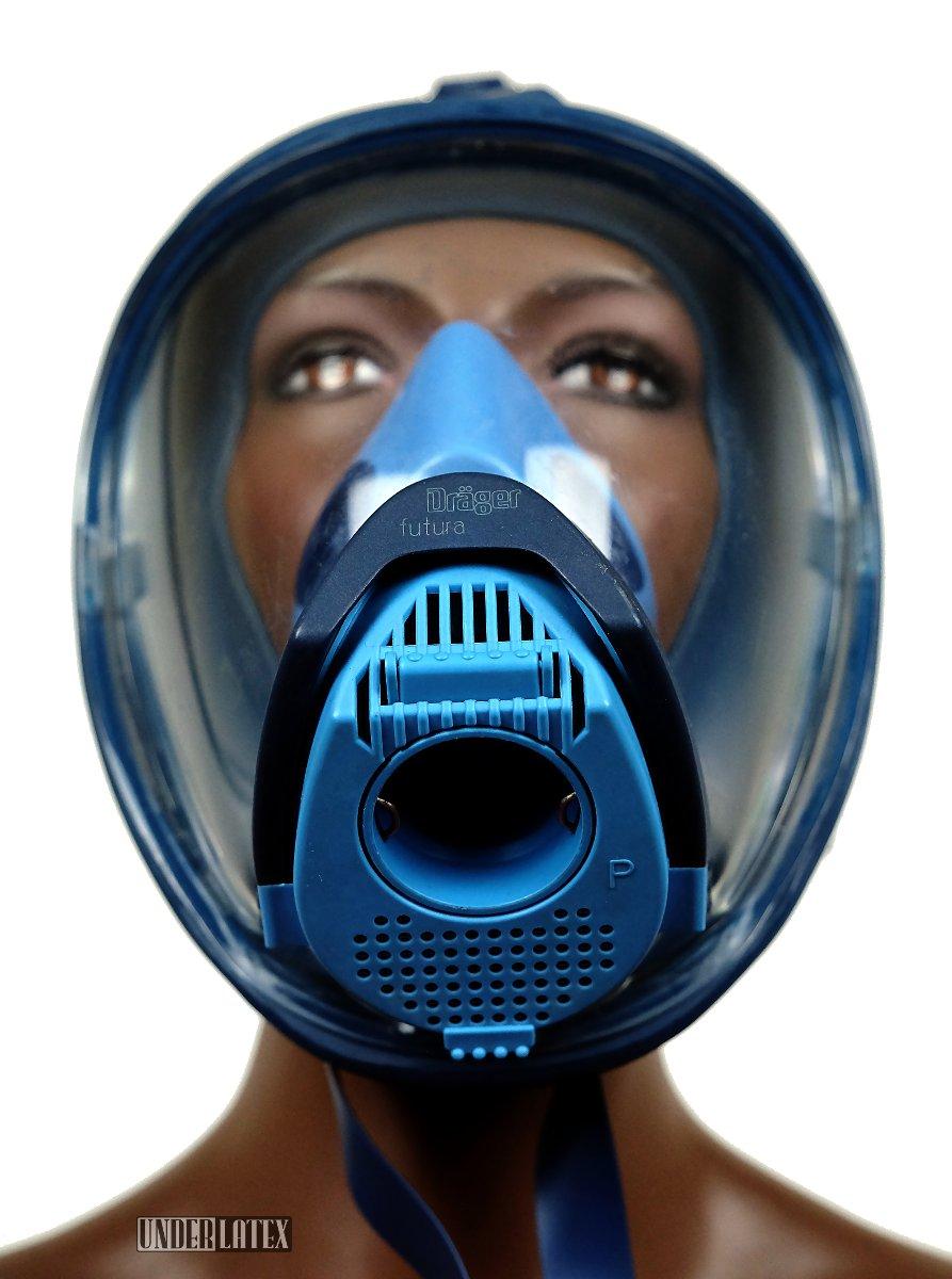 Dräger Futura Gasmaske blau Ueberdruck mit ESA Anschluss